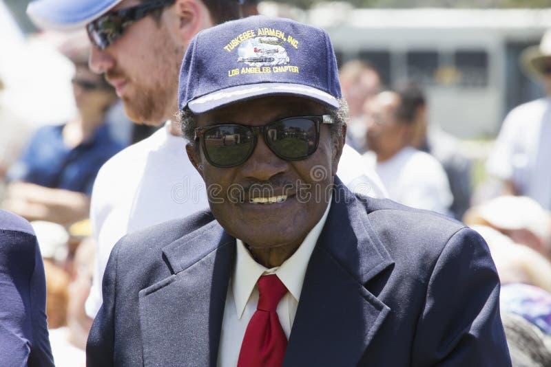Tuskegee空军,二战的,洛杉矶国家公墓每年纪念事件, 2014年5月26日,加利福尼亚,美国军事飞行员 免版税库存图片