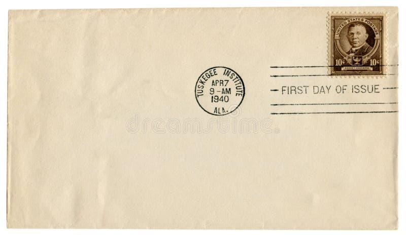 Tuskegee-Institut, Alabama, die USA - 7. April 1940: Historischer Umschlag US: Abdeckung mit braunem Briefmarke Disponenten T Was stockbild