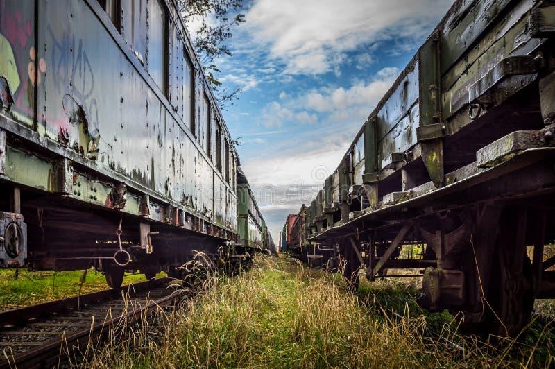 Tussen oude treinen stock fotografie