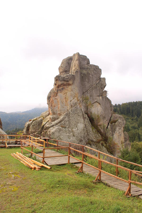 Tustan ein Monument der Geschichte und der Architektur lizenzfreie stockfotos