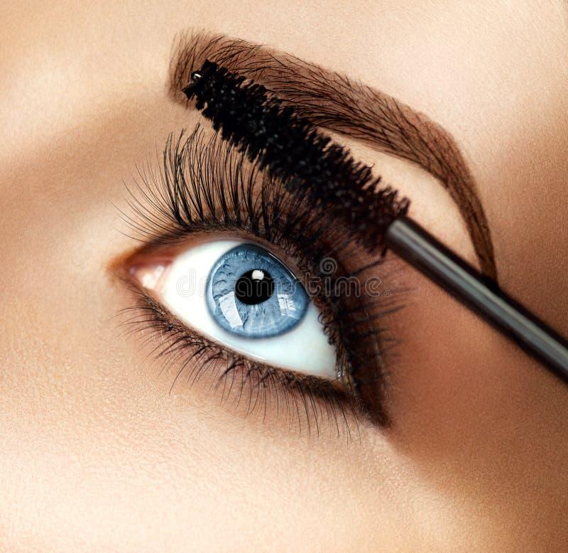 Tusz do rzęs makeup stosuje zbliżenie fotografia stock