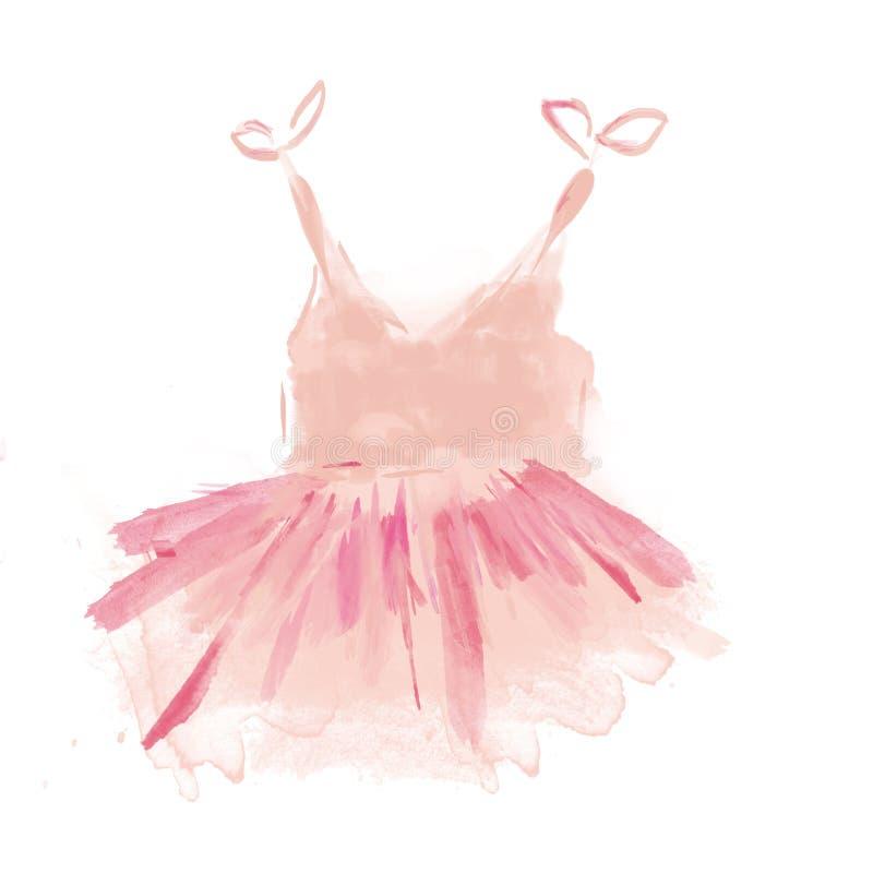 Tutú rosado lindo del ballet Vestido de la bailarina de la acuarela stock de ilustración