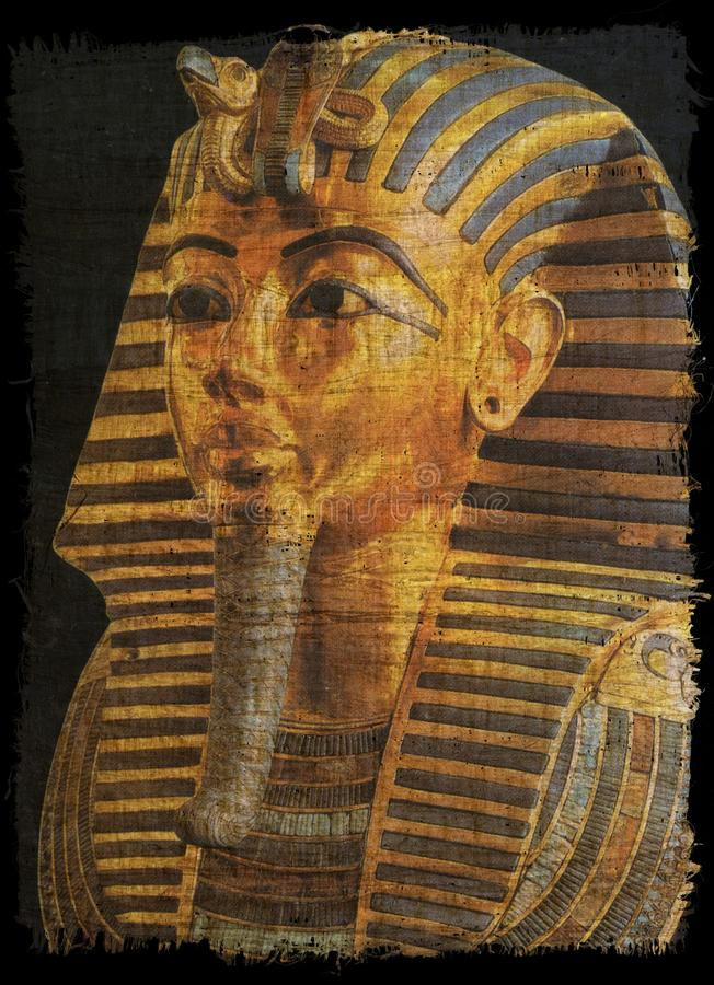 Tut ankh金黄面具在古老的纸莎草的 库存例证
