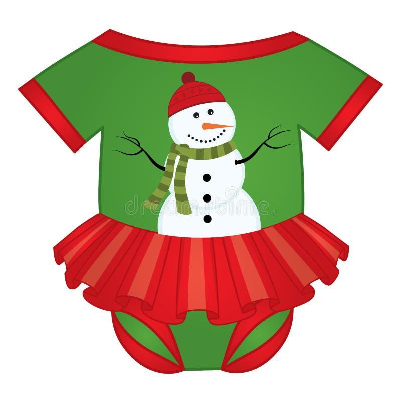 Tuta della neonata di Natale di vettore decorata con il pupazzo di neve illustrazione di stock