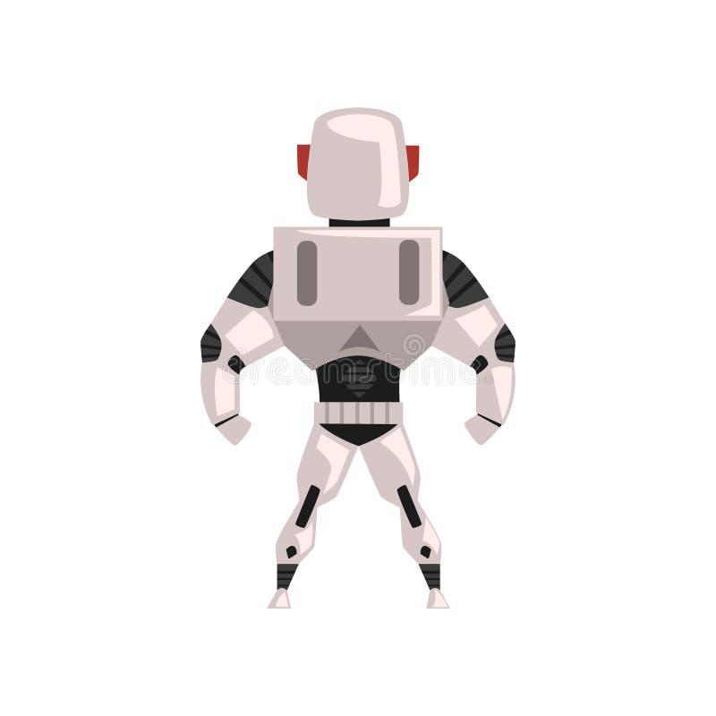 Tuta spaziale del robot, supereroe, costume del cyborg, illustrazione posteriore di vettore di vista su un fondo bianco illustrazione di stock