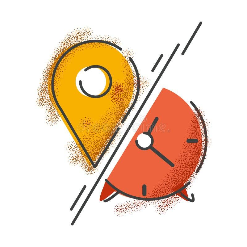 Tutaj i teraz Czas i miejsce Retro stylowa ikona royalty ilustracja