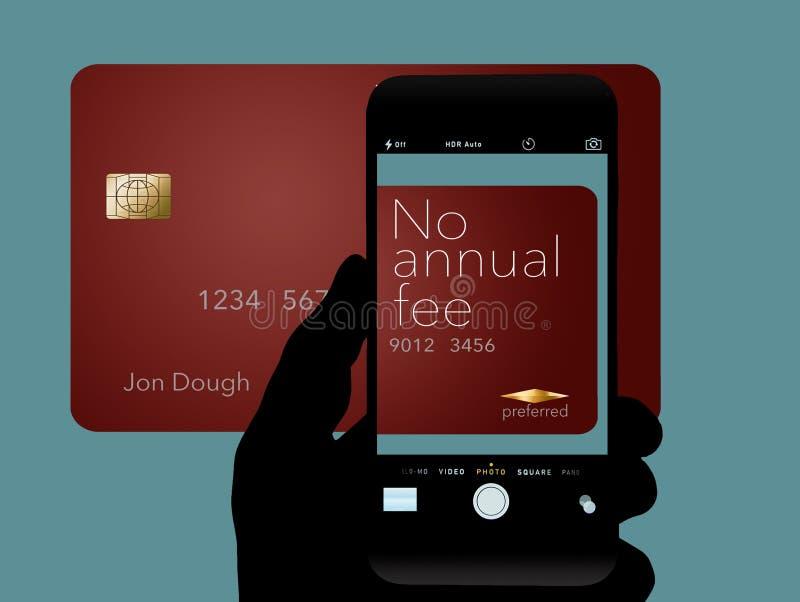 Tutaj jest karta kredytowa dokąd cardholder no musi płacić i roczna opłata Ja mówi: żadny roczna opłata na karcie zdjęcie royalty free