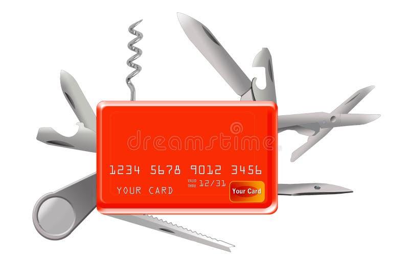 Tutaj jest kredytowa karta która ostrza i narzędzia jak Szwajcarska ręka ilustracja wektor