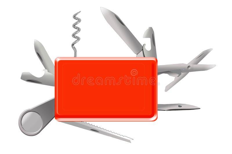 Tutaj jest kredytowa karta która ostrza i narzędzia jak Szwajcarski wojsko nóż royalty ilustracja