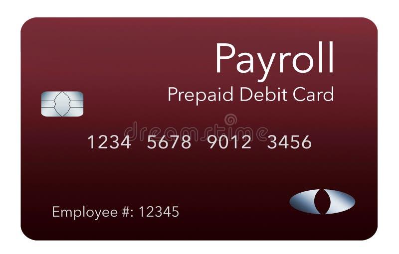 Tutaj jest lista płac karta debetowa Ja jest opłacony z góry kartą debetową używać płacić pracownikom ich lista płac płace ilustracja wektor