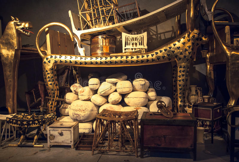 Tutankhamun的坟茔 库存照片