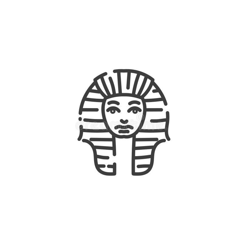 Tutankhamun διάσημο αιγυπτιακό εικονίδιο περιλήψεων pharaoh επίπεδο της Αιγύπτου, σκιαγραφία έννοιας απεικόνιση αποθεμάτων