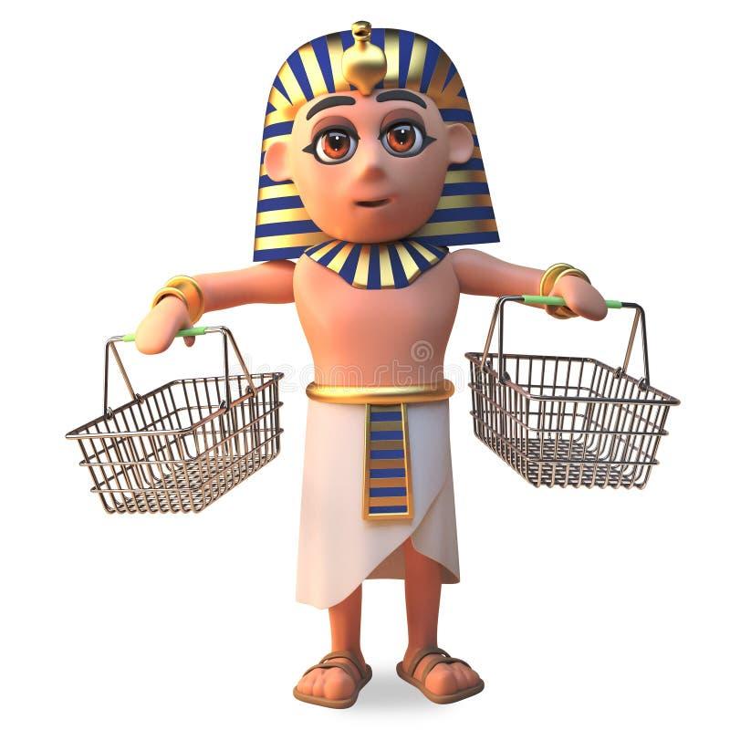Tutankhamun för farao som 3d tecken rymmer två tomma shoppa korgar, illustration 3d royaltyfri illustrationer