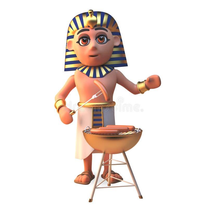 Tutankhamun faraotecken som lagar mat korvar på en grillfestbbq, illustration 3d royaltyfri illustrationer
