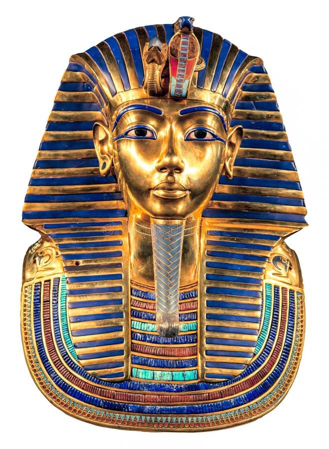 Tutankhamun`s burial mask. Isolated golden egyptian Tutankhamun`s burial mask on white background stock photography