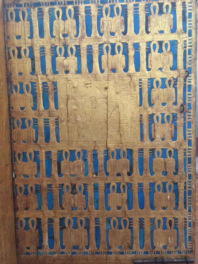 Tutankhamun tomb in the egyptian museum in cairo in egypt in africa. Famous, civilization. royalty free stock photos