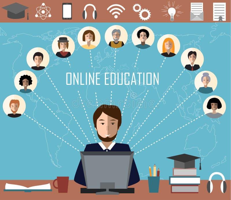 Tutor et son groupe en ligne d'éducation sur le fond de carte du monde Concept de formation à distance et d'apprentissage en lign illustration de vecteur