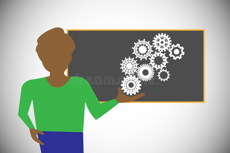Tutor presenting the technology concepts royalty free illustration