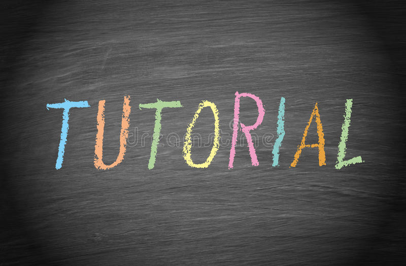 Tutorial in colored chalk on blackboard stock photography