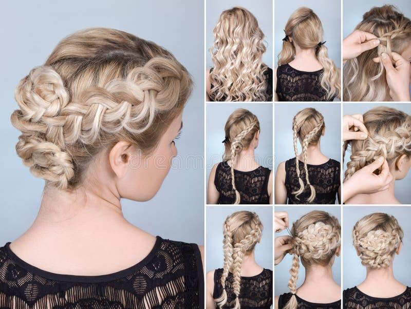 Tutorial de la trenza del peinado fotos de archivo