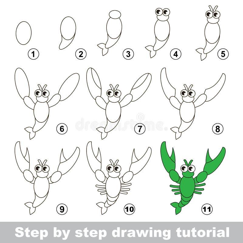 Tutorial del dibujo Cómo dibujar un cangrejo stock de ilustración