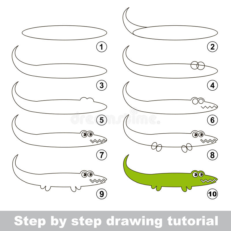 Tutorial del dibujo Cómo dibujar un cocodrilo libre illustration