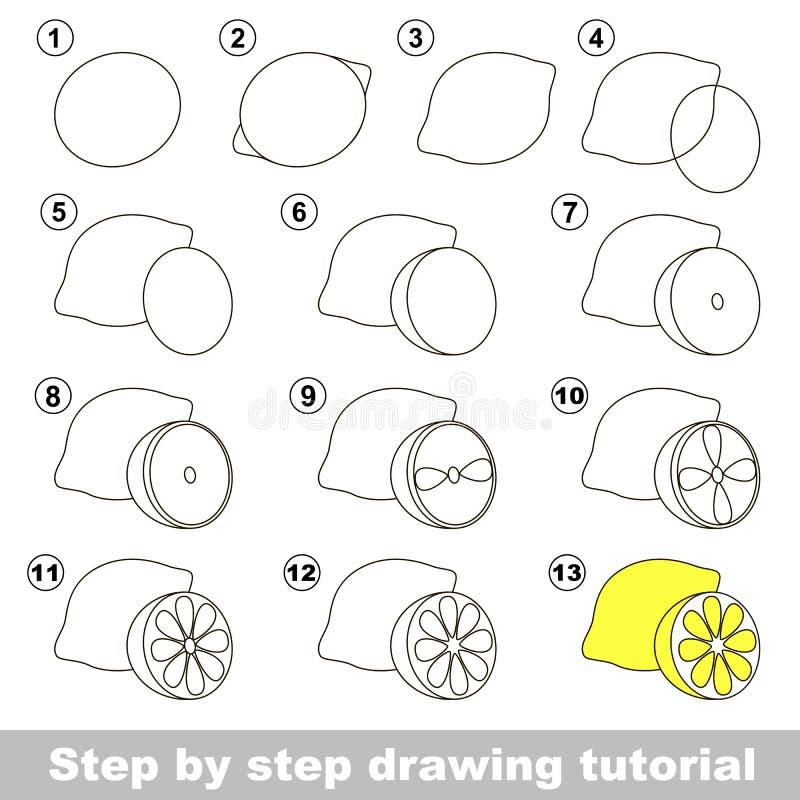 Tutorial del dibujo Cómo dibujar un limón stock de ilustración
