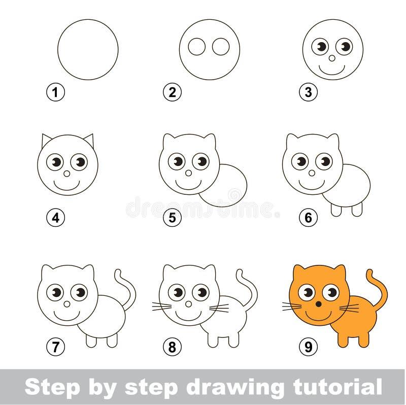 Tutorial del dibujo Cómo dibujar un pequeño gatito stock de ilustración