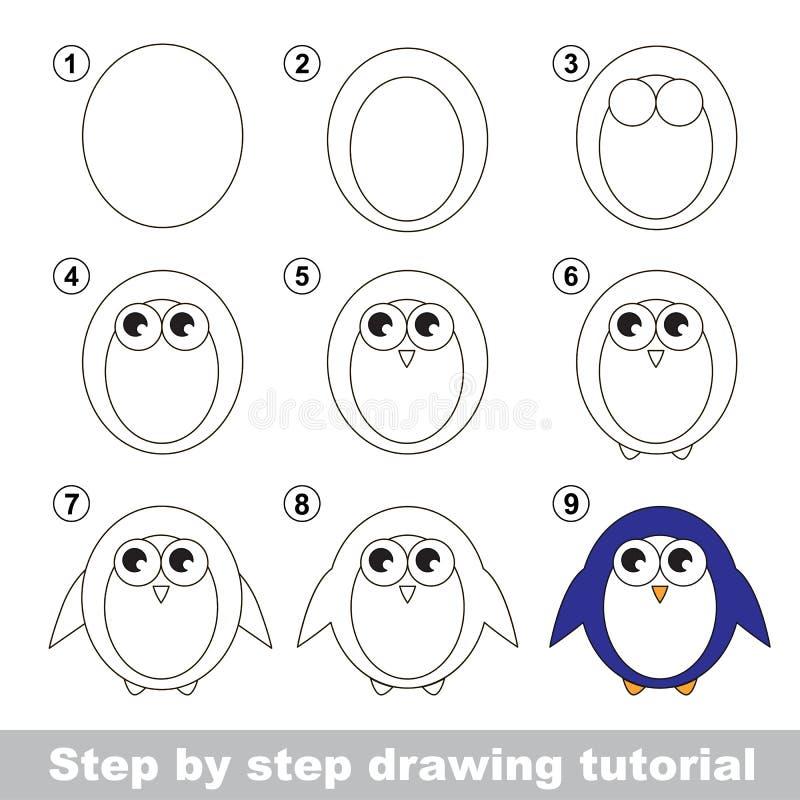 Tutorial del dibujo Cómo dibujar un pingüino stock de ilustración