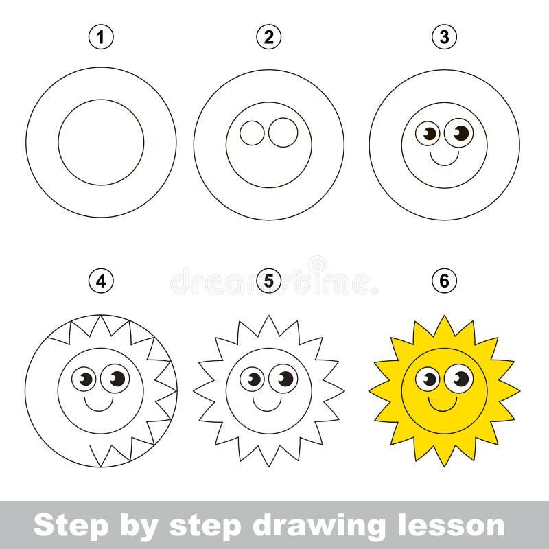 Tutorial del dibujo Cómo dibujar un Sun ilustración del vector