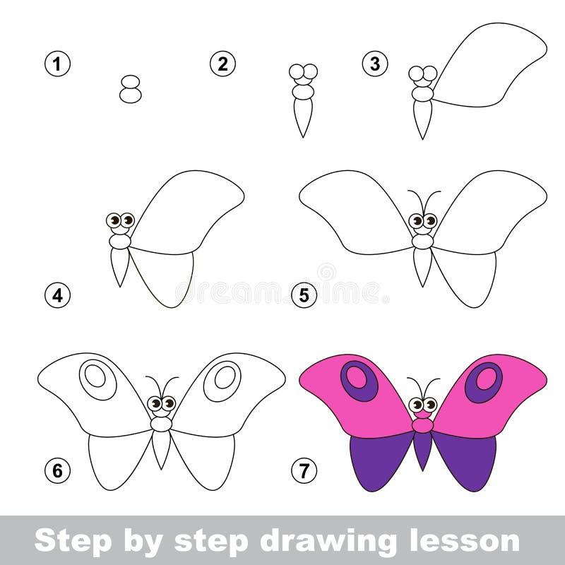 Tutorial del dibujo Cómo dibujar una mariposa ilustración del vector