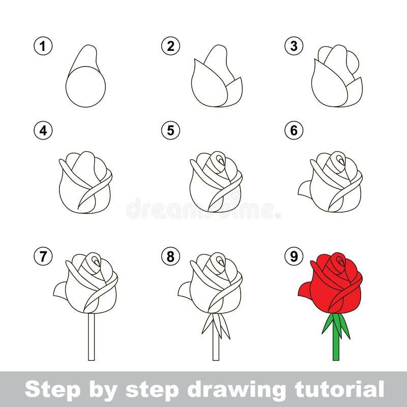 Tutorial del dibujo Cómo dibujar a una Rose stock de ilustración