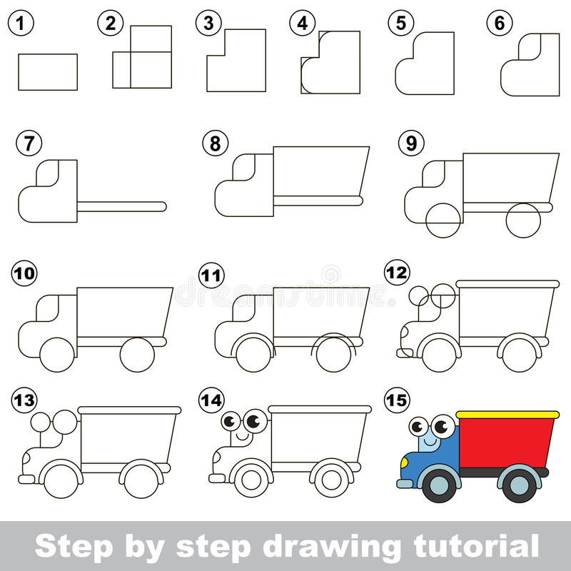 Tutorial del dibujo El camión stock de ilustración