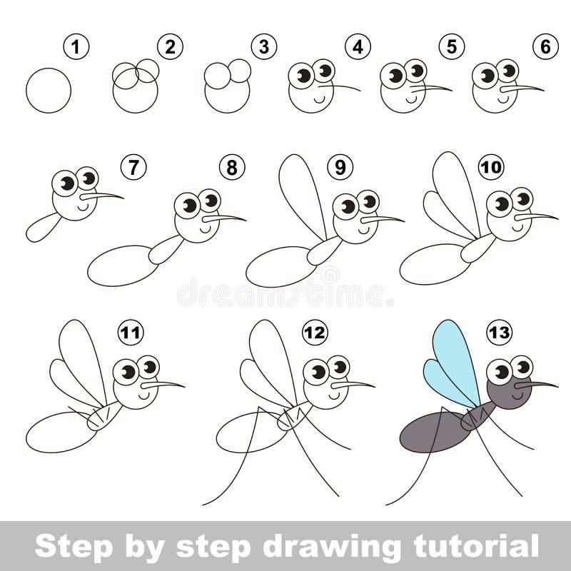 Tutorial del dibujo El mosquito ilustración del vector