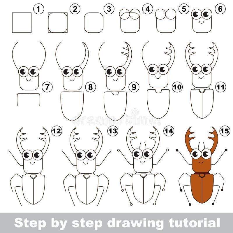 Tutorial del dibujo Insecto de Brown con los granos stock de ilustración