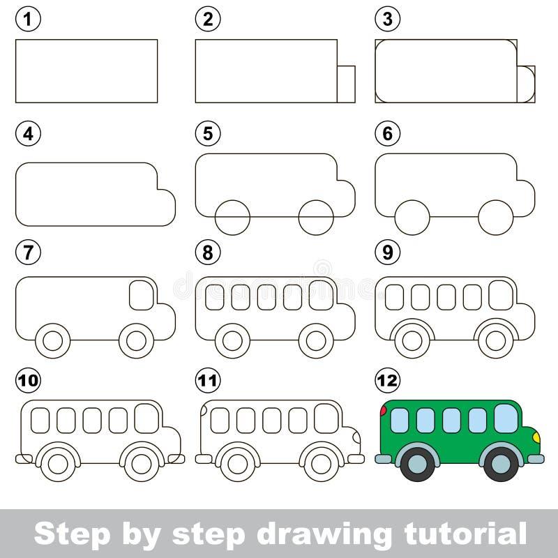 Tutorial del dibujo Juego para el autobús ilustración del vector