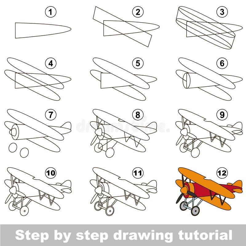 Tutorial del dibujo Juego para el biplano stock de ilustración