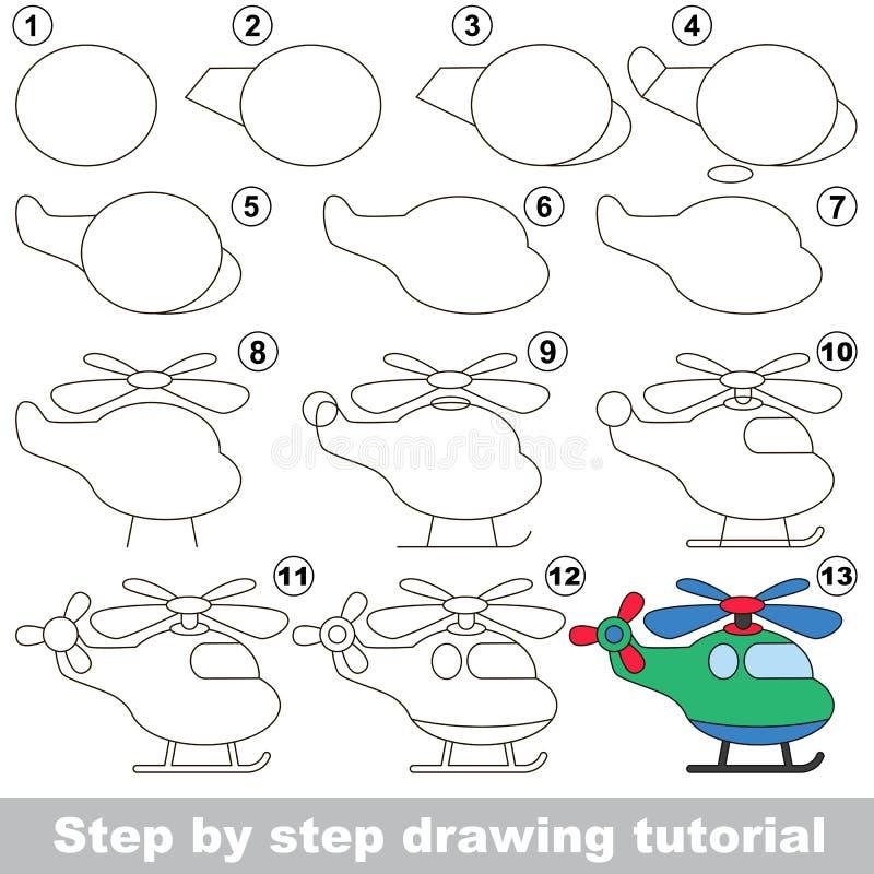 Tutorial del dibujo Juego para el helicóptero stock de ilustración