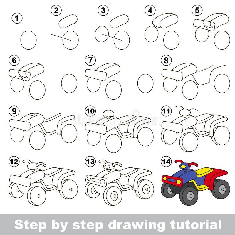 Tutorial del dibujo Juego para la bici del patio stock de ilustración