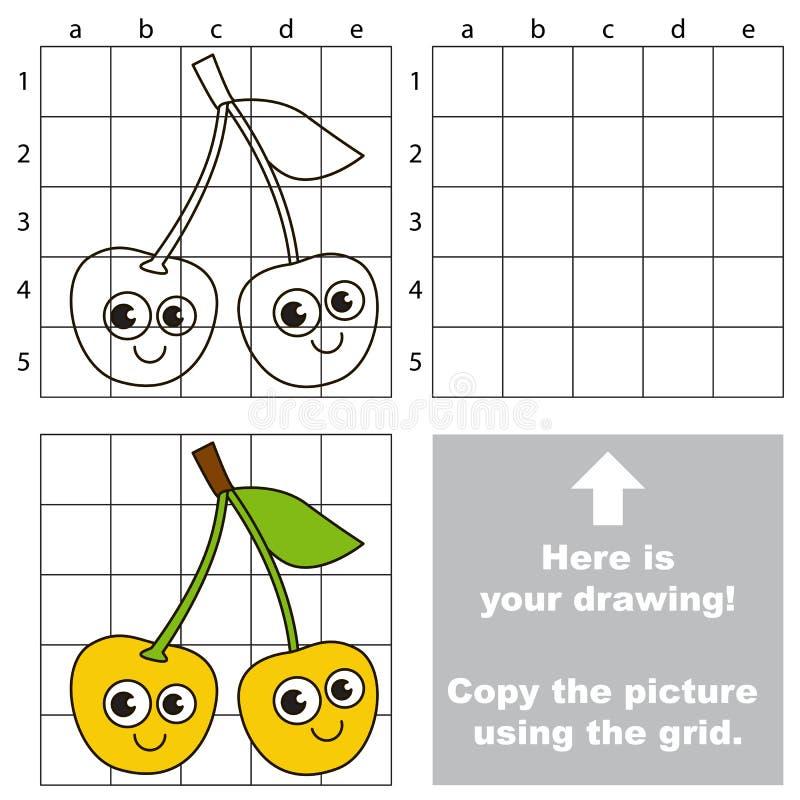 Tutorial del dibujo Juego para la cereza amarilla ilustración del vector