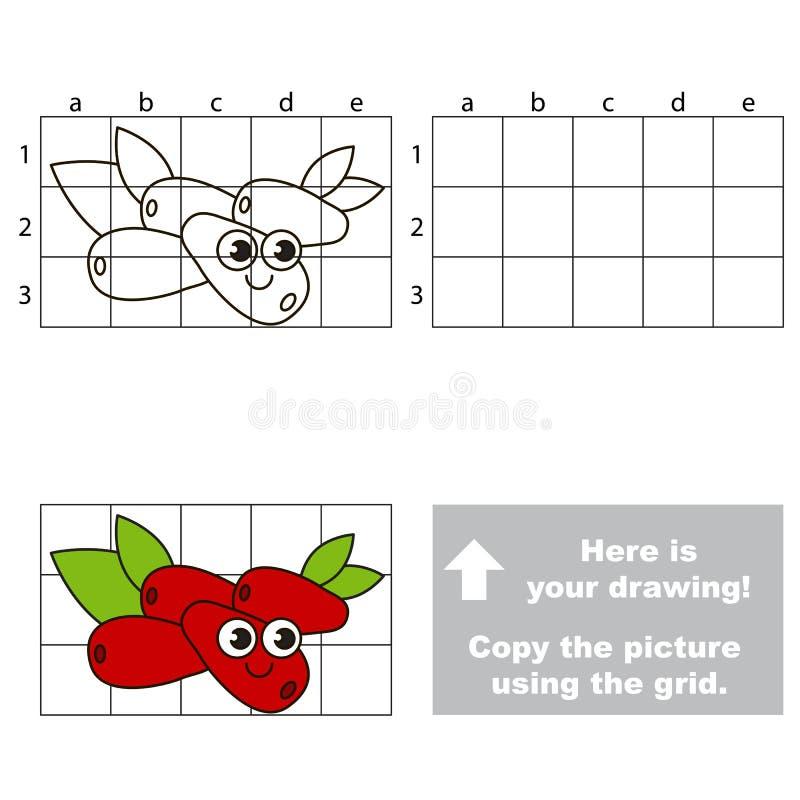 Tutorial del dibujo Juego para la cereza de cornalina stock de ilustración