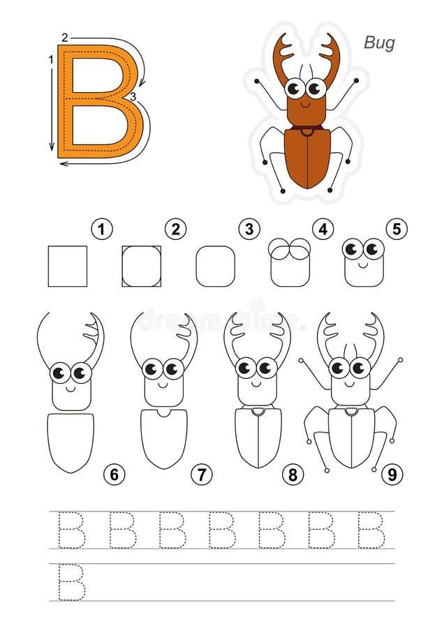 Tutorial del dibujo Juego para la letra B El apiarius del escarabajo ilustración del vector