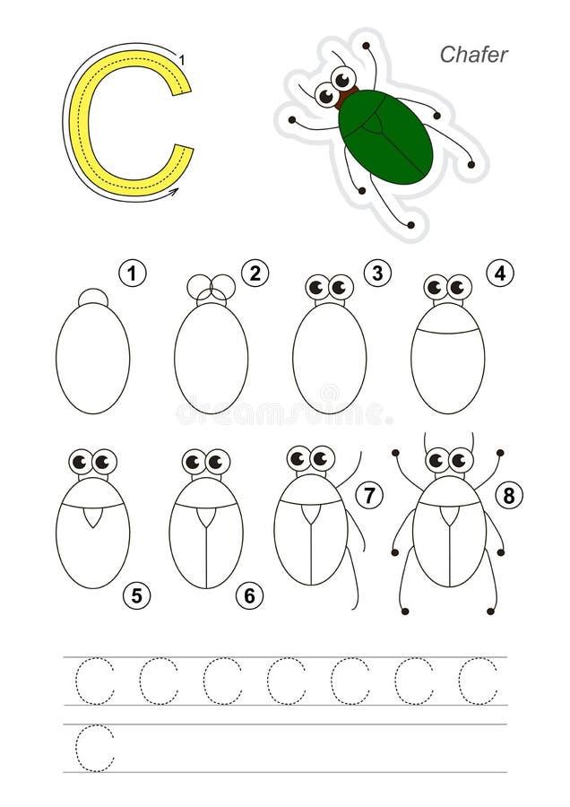 Tutorial del dibujo Juego para la letra C El insecto de bronce stock de ilustración