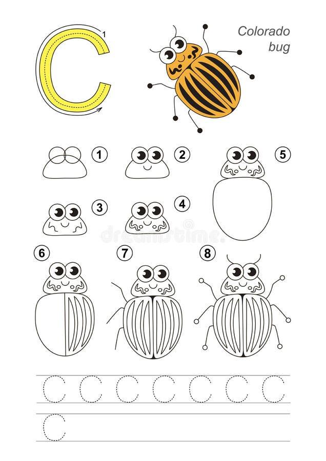 Tutorial del dibujo Juego para la letra C Escarabajo de patata de Colorado ilustración del vector