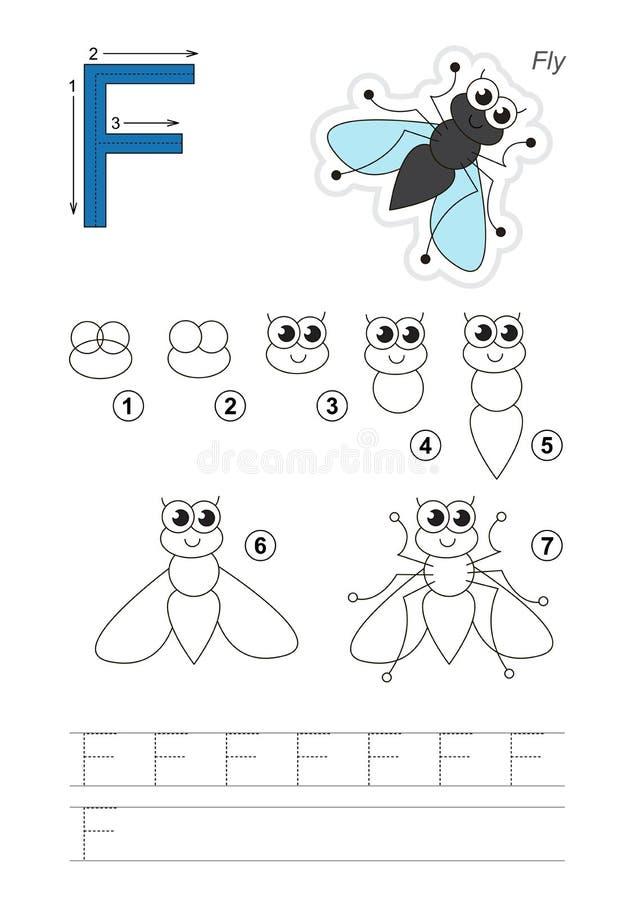 Tutorial del dibujo Juego para la letra F La mosca divertida ilustración del vector