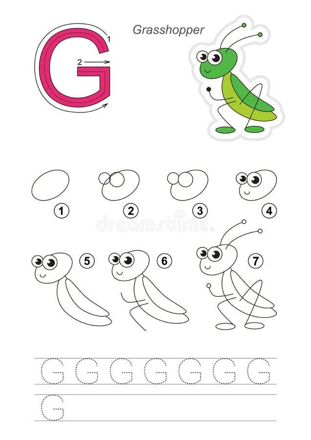 Tutorial del dibujo Juego para la letra G Saltamontes lindo ilustración del vector
