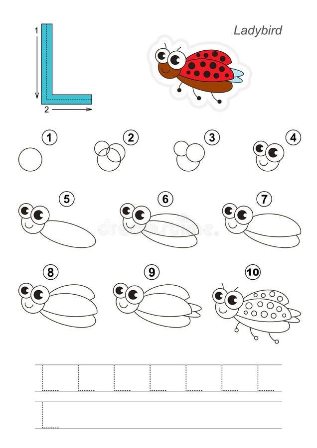 Tutorial del dibujo Juego para la letra L Ladybug divertido stock de ilustración