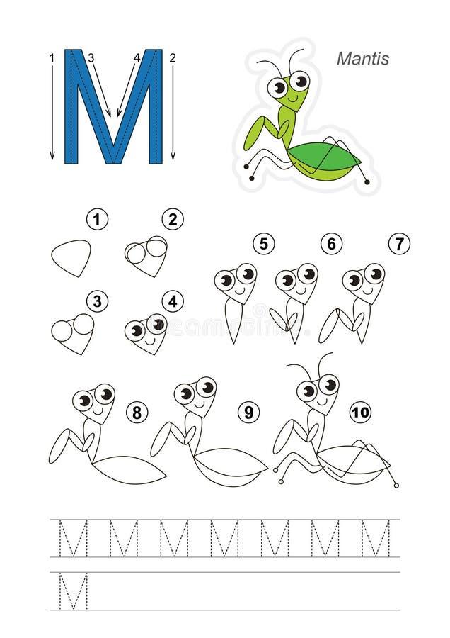 Tutorial del dibujo Juego para la letra M Predicador divertido libre illustration