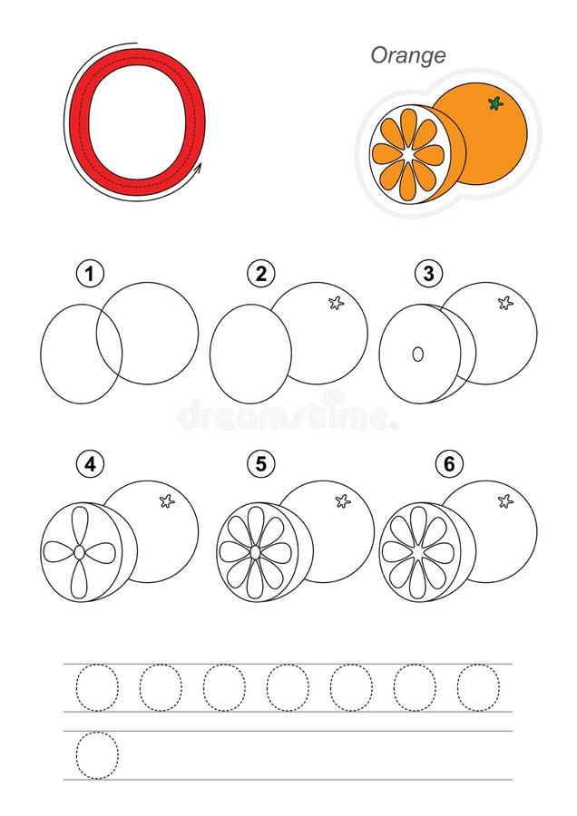 Tutorial del dibujo Juego para la letra O La naranja stock de ilustración