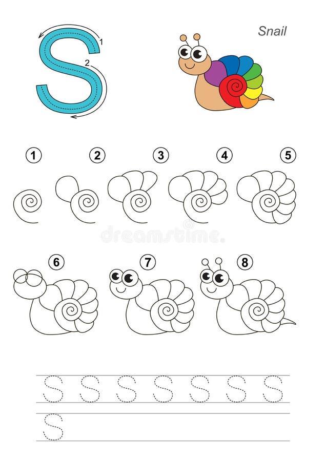 Tutorial del dibujo Juego para la letra S El caracol ilustración del vector